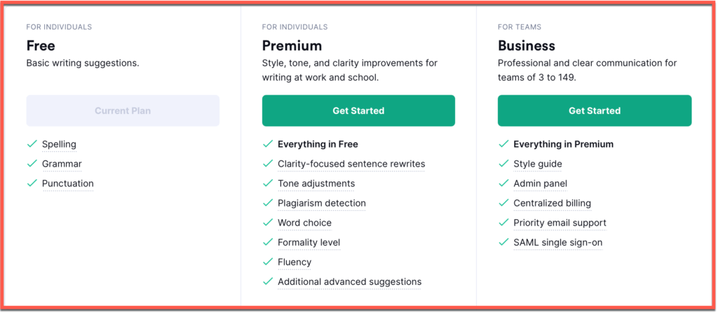 Grammarly's plans and pricing